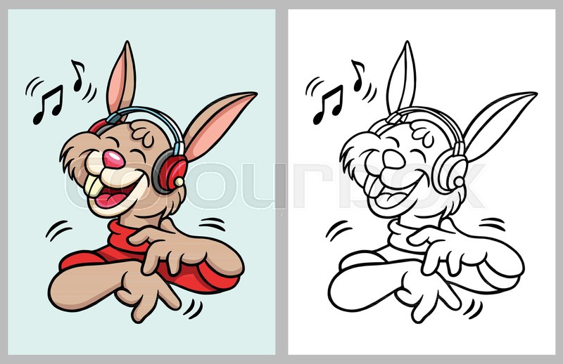 Rabbit Cartoon Character Hearing Music Good Use For Coloring Book