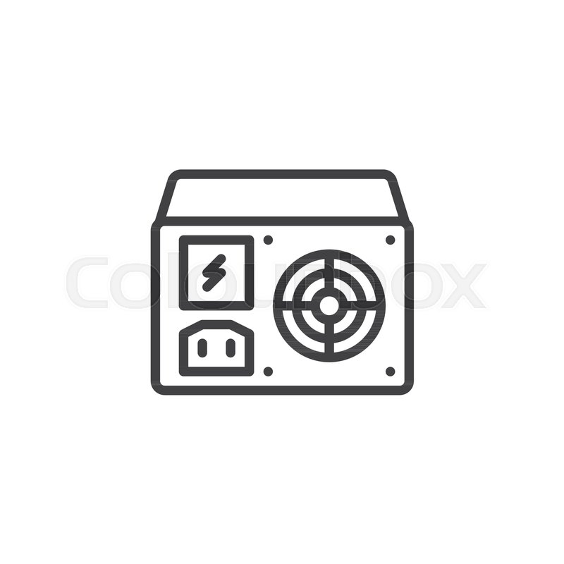 Power supply unit line icon, outline vector sign, linear style ...