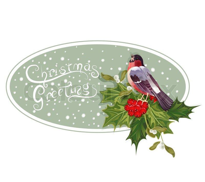 Vector vintage weihnachten hintergrund mit stechpalme und - Winterlandschaft dekoration ...