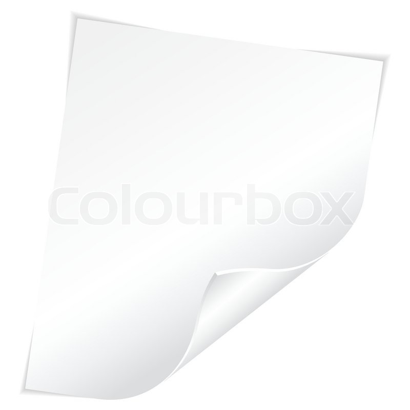 Blank Sheet of White Paper with Curved Corner on white background ...