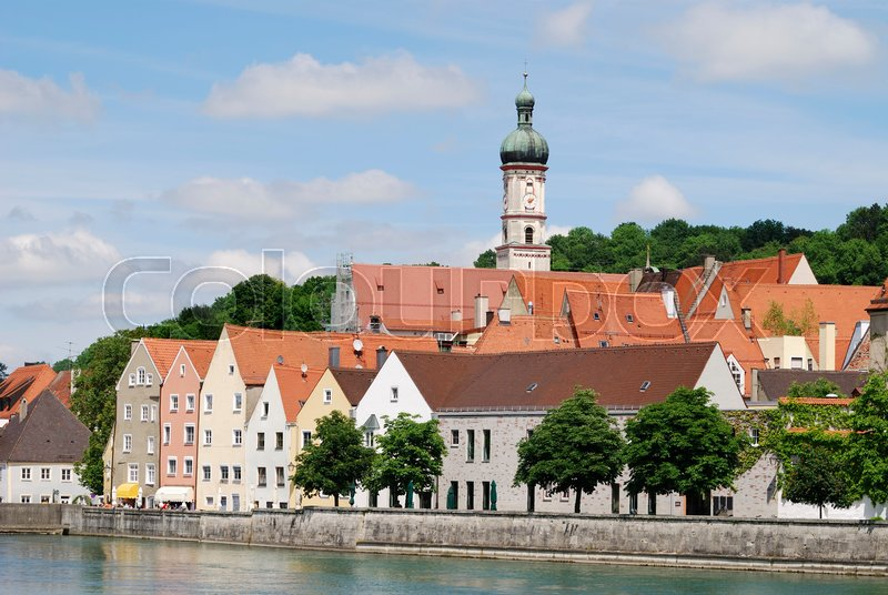 Stock image of 'City of Landsberg at the River Lech (Bavaria, Germany).                                    '
