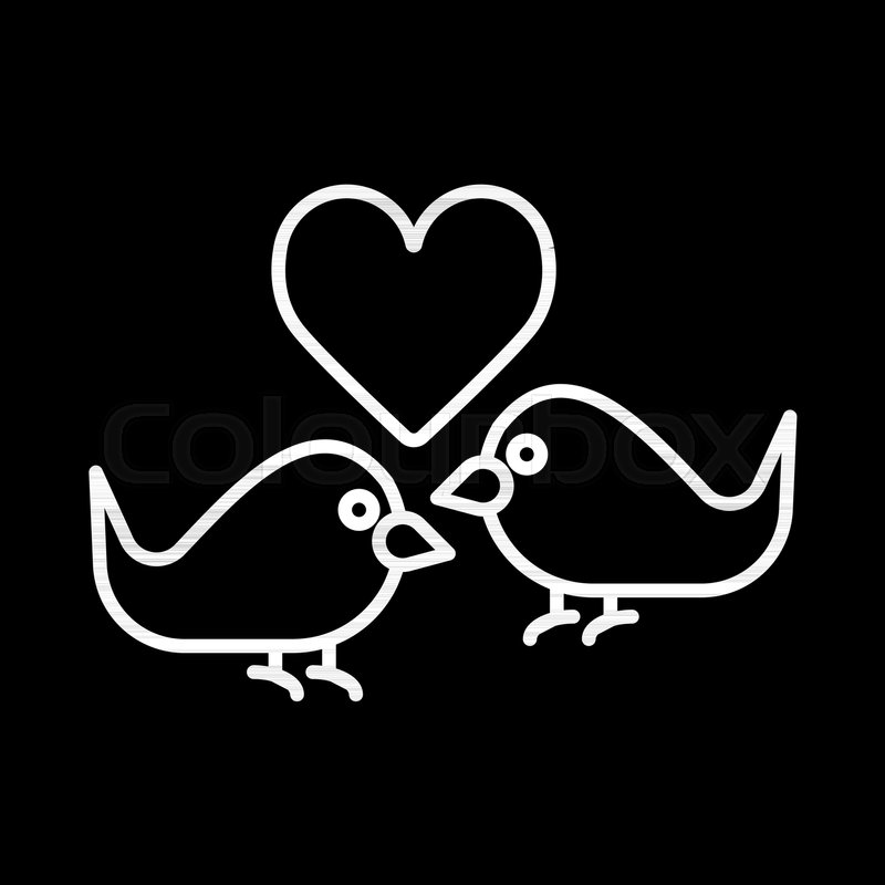 Love Birds With Heart Icon Vector Flat Sign Outline Pictogram