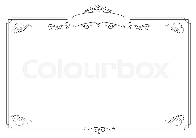 a4 size horizontal cafe menu ornamental retro elegant black border and white background stock vector colourbox