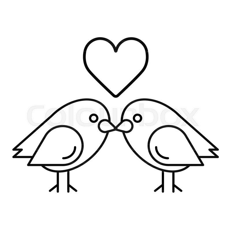 Love Birds With Heart Icon Vector Stock Vector Colourbox