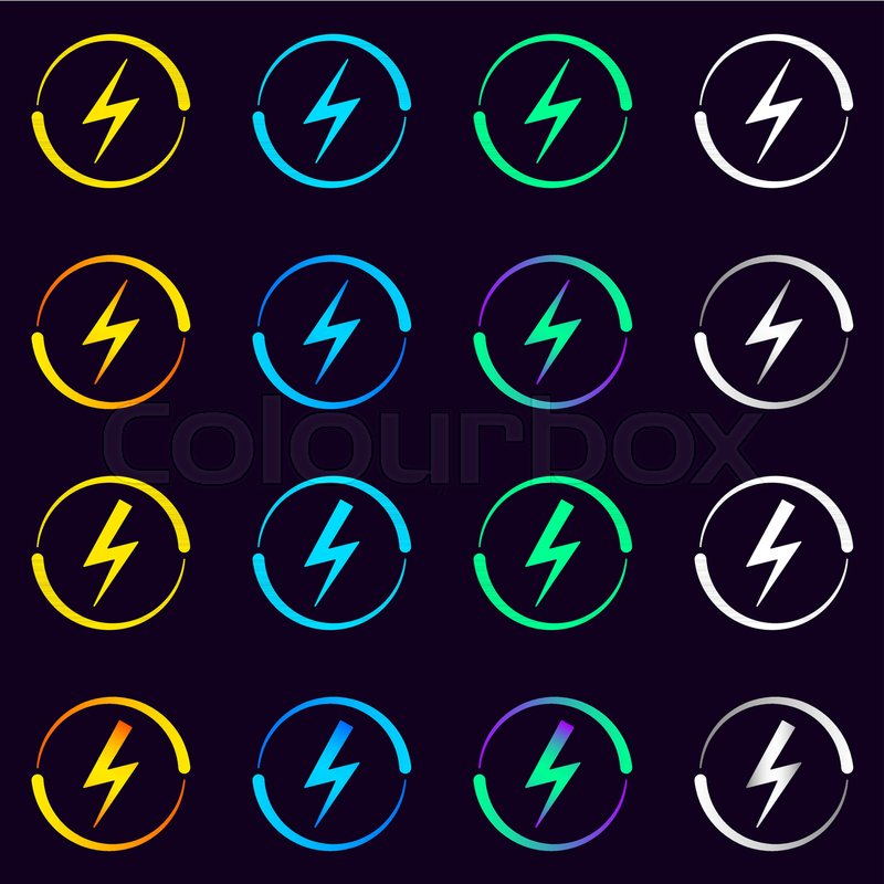 Collection Of Electrical Signs Vector Illustration Of Electric