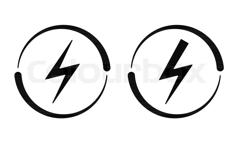 electrical signs  vector icon of electric energy symbol in