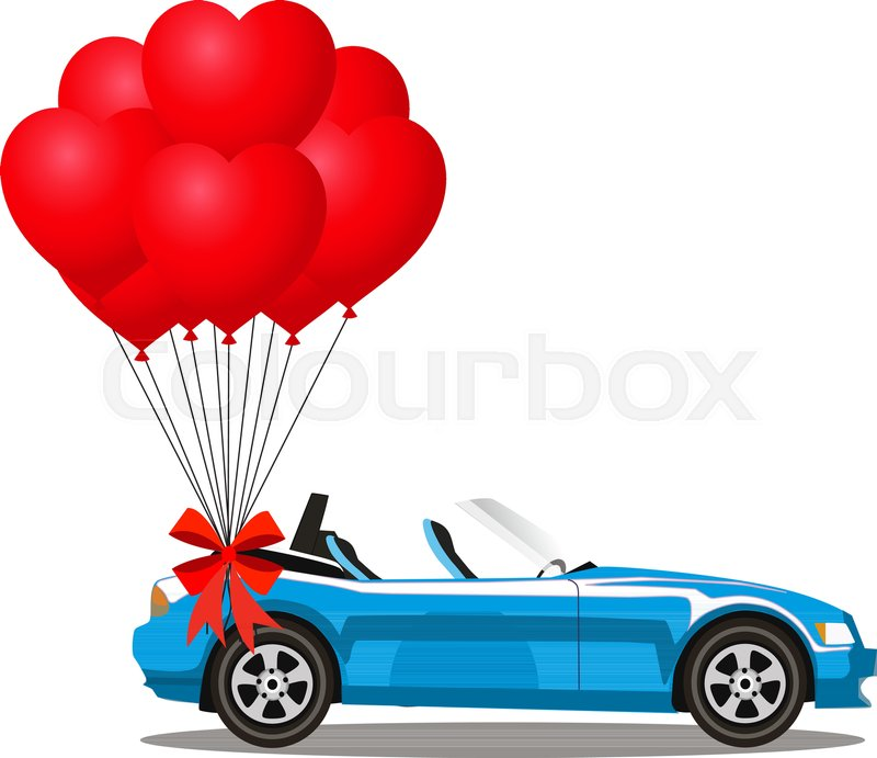 Blue Modern Opened Cartoon Cabriolet Car With Bunch Of Red Helium Heart  Shaped Balloons With Festive Bow Isolated On White Background. Sports Car.