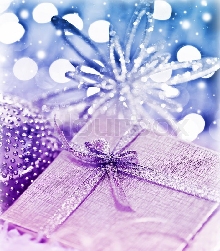 Image of 'Purple blue gift box with baubles decorations, Christmas ...
