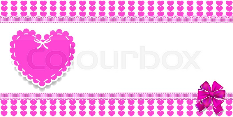 Cute template with pink hearts pattern, space for text and big lace ...