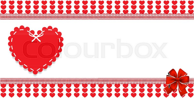 with bow on red and white striped hearts background framed with lace ...