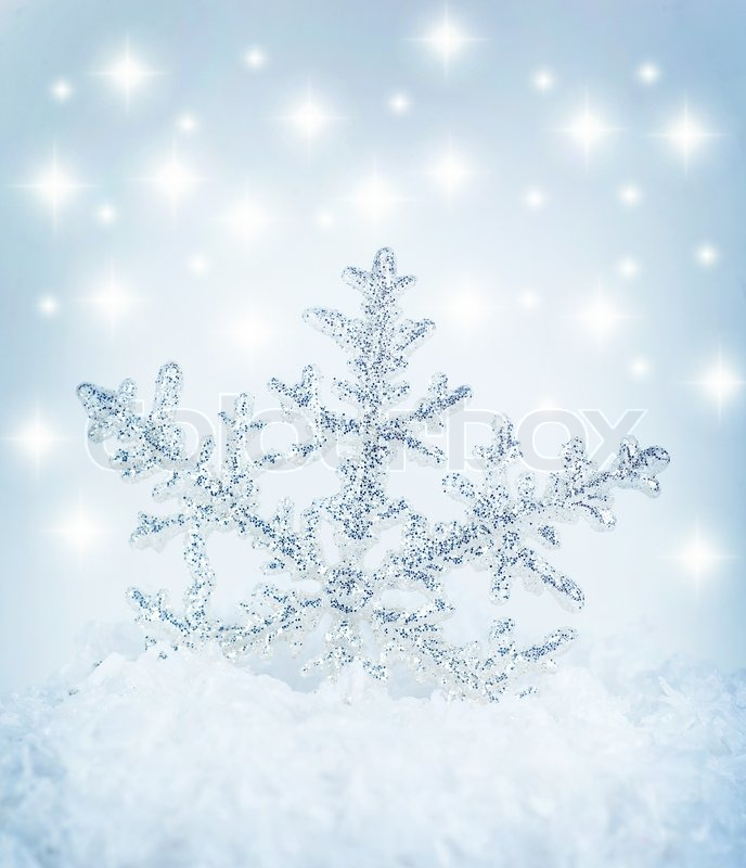Beautiful Blue Snowflake Winter Holiday Background Stock