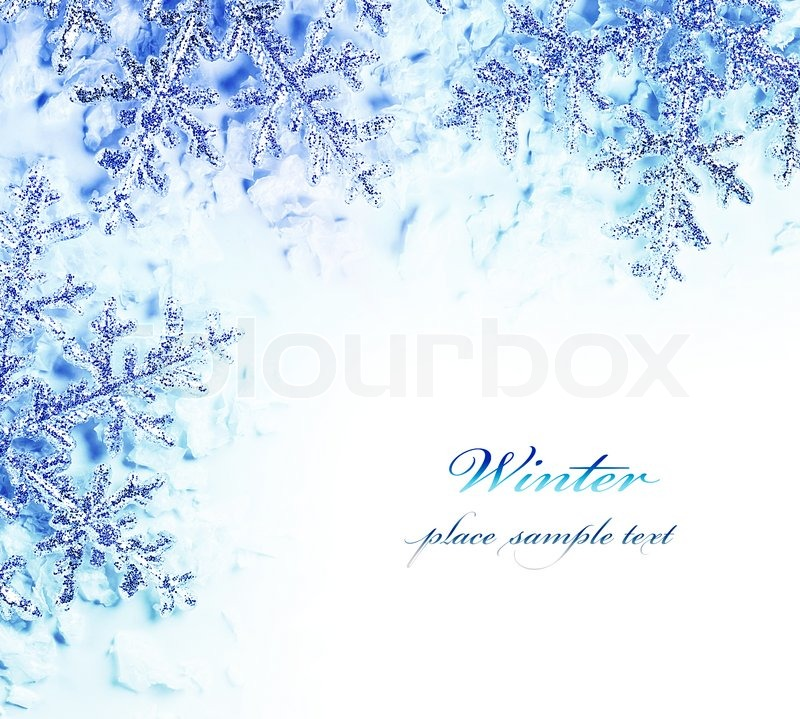 Snowflake decorative border, beautiful blue cold frozen snow ...