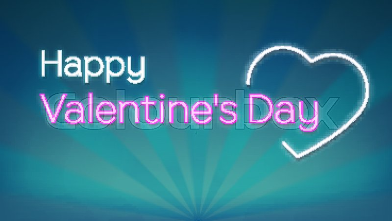 Happy valentines s day neon text on background with rays concept concept of romantic greeting cards banner poster glowing and lit up neon heart shaped love sign with text stock vector colourbox m4hsunfo