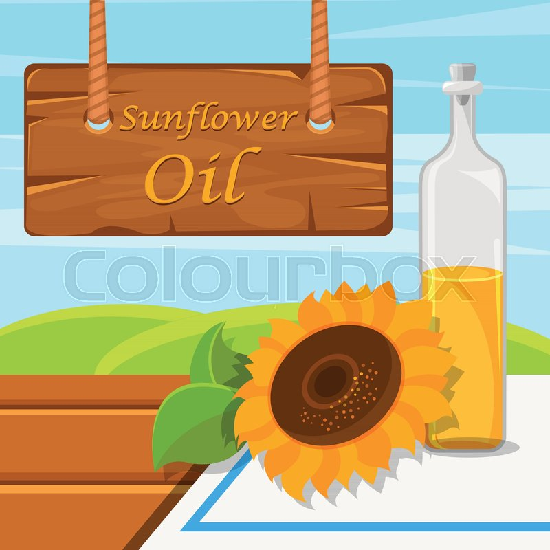 page rustic elements. Modren Elements Sunflower Oil Glass Bottle Of Food Oil On The Rustic Background Vector  Illustration Design Element For Banner Flyer Poster With Page Elements