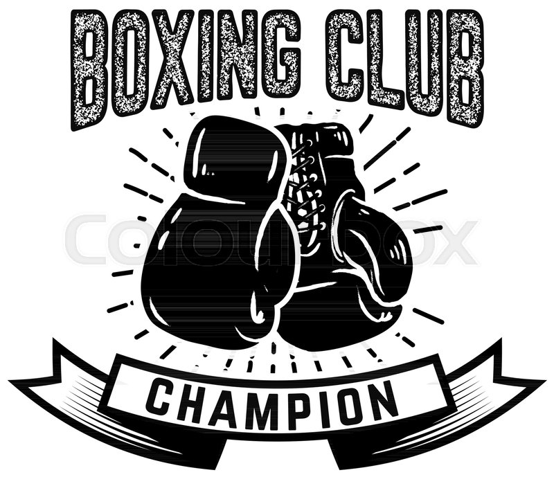 champion boxing club emblem template with boxer gloves design