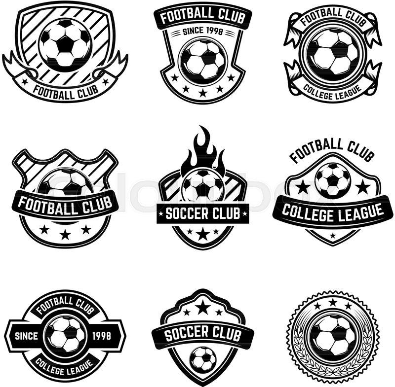 Football Club Emblems On White Background Soccer Badges Design