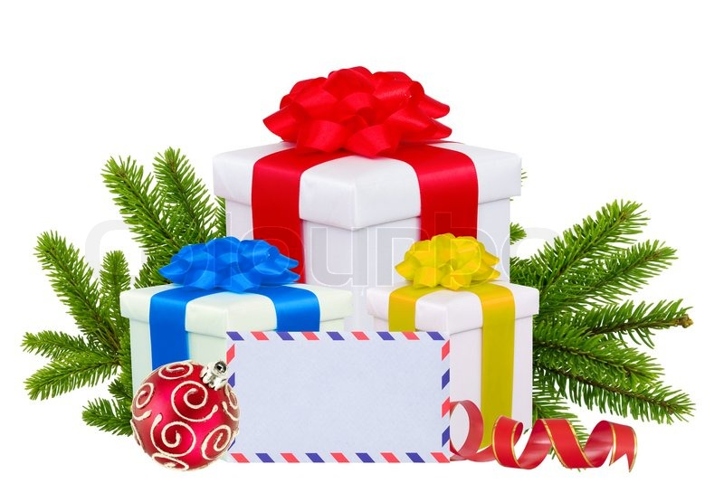 christmas gift boxes decoration balls and tree branch isolated on white stock photo colourbox