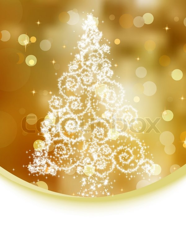 Christmas Tree Illustration On Gold Bokeh Background EPS 8 Vector File Included