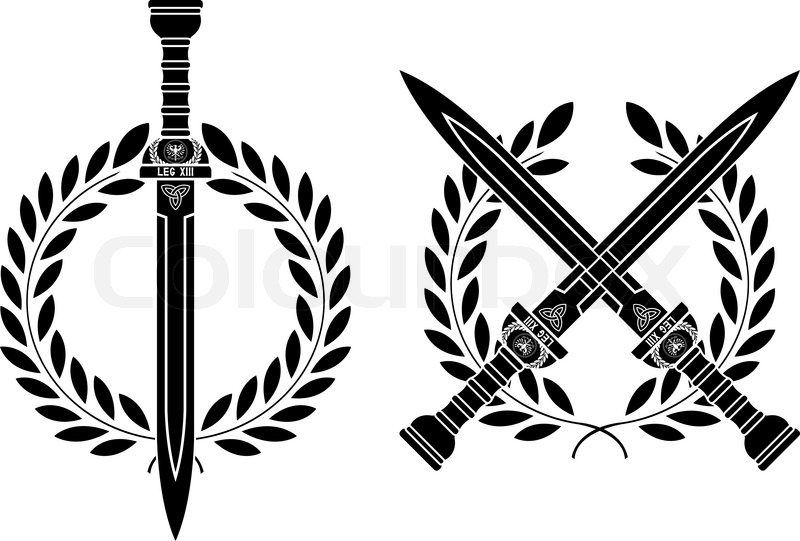 Roman Schwerter und Kranz. | Stock-Vektor | Colourbox