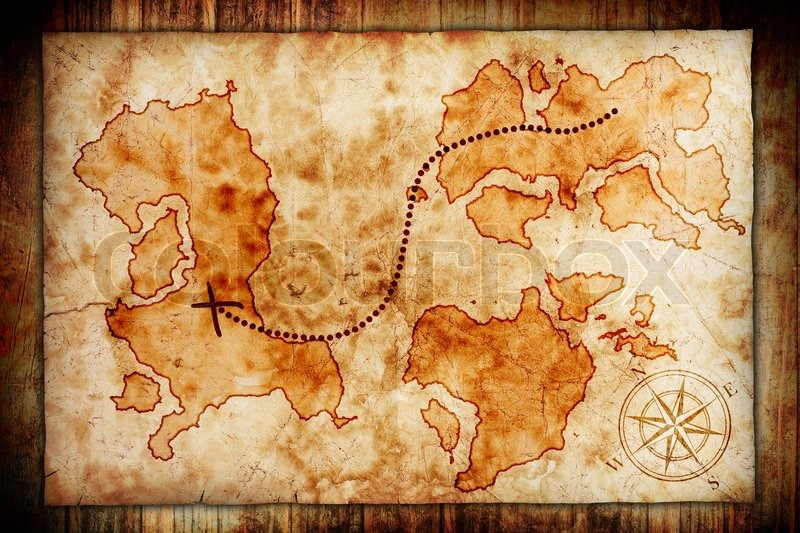 old treasure map on wooden grunge background stock