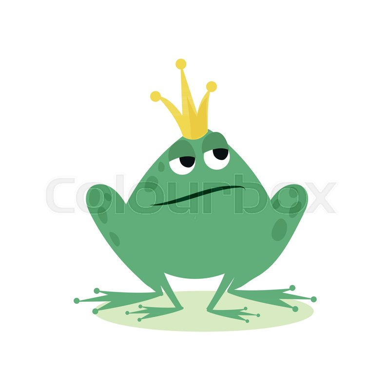 Prince frog in golden crown, fairy       Stock vector   Colourbox