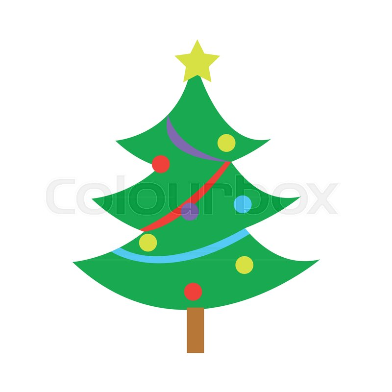 fully decorated simple pine christmas tree vector graphic rh colourbox com pine tree graphics free pine tree graphics free