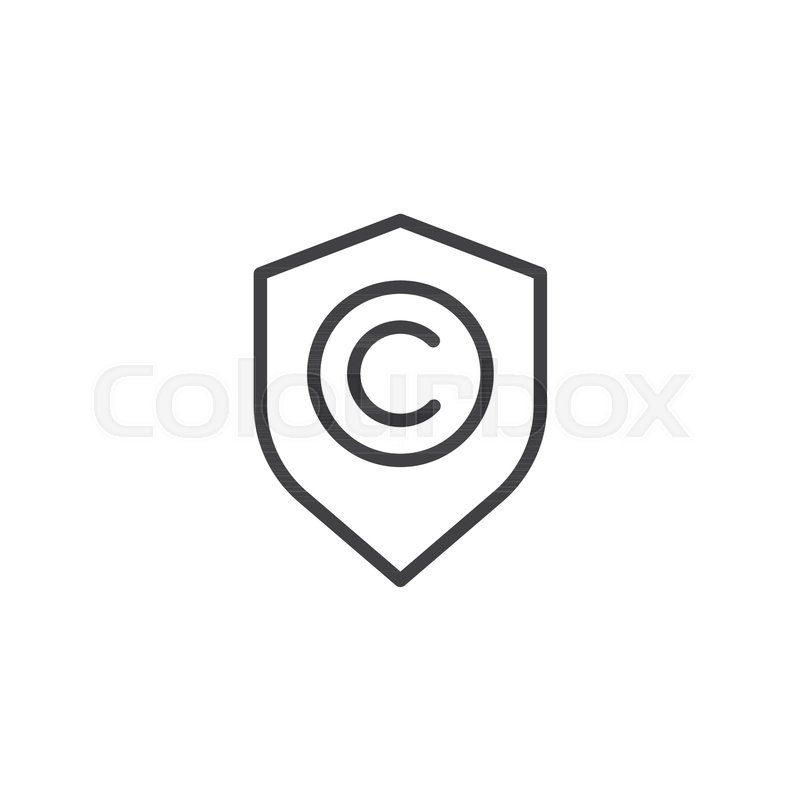 Shield With Copyright Sign Line Icon Outline Vector Sign Linear