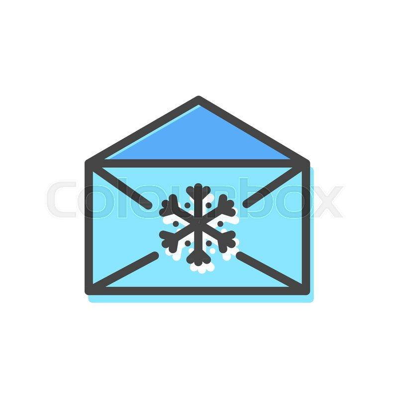 Letter of blue color, Christmas icon with envelope and snowflake ...