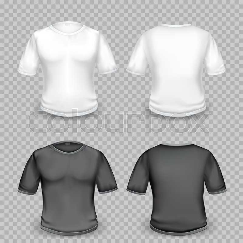 Black And White Empty T Shirt Template Stock Vector Colourbox