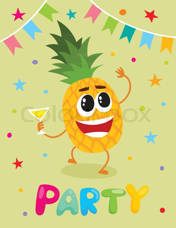 Party banner flayer invitation template with cartoon pineapple party banner flayer invitation template with cartoon pineapple fruit character having fun drinking vector illustration funny pineapple fruit with human maxwellsz