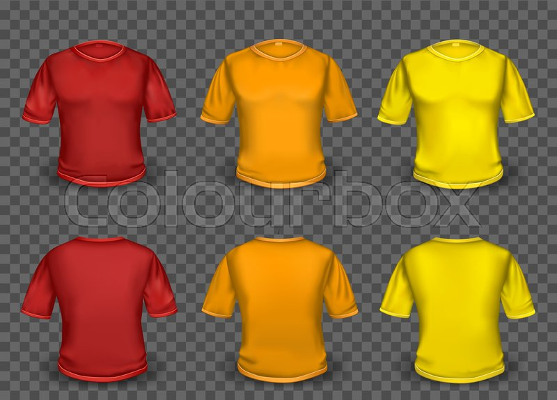 Red orange and yellow empty t-shirt template with shaow on ...