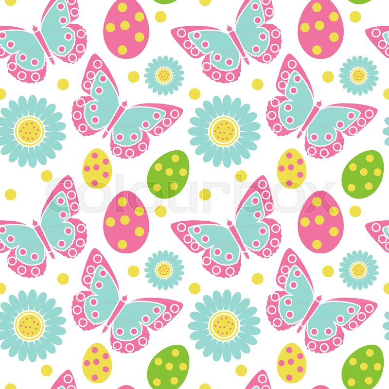 Cute Easter Seamless Pattern Spring Stock Vector