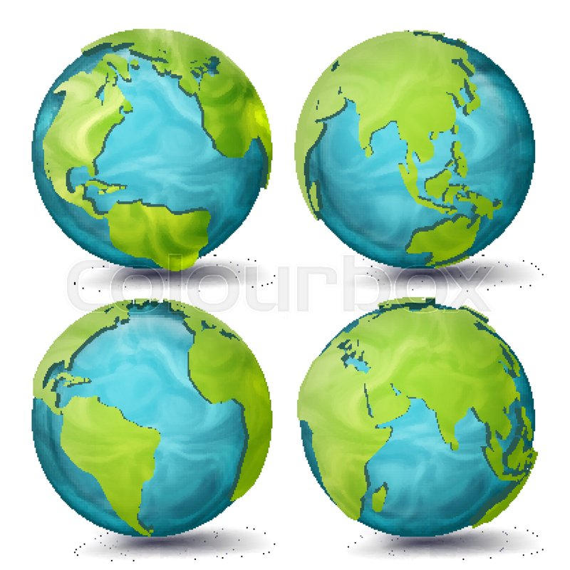 Map Of America 3d Vector.World Map Vector 3d Planet Set Earth Stock Vector Colourbox