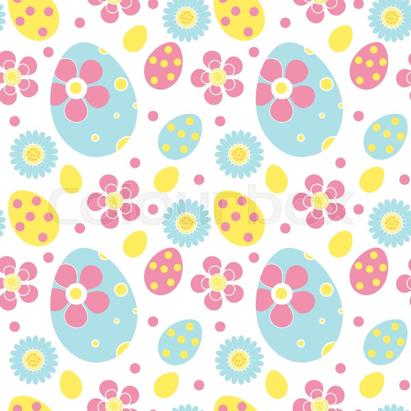 Cute Easter Seamless Pattern Spring Repeating Textures Childrens Baby Kids Endless Background Paper Wallpaper Vector Illustration