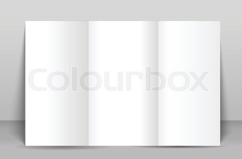 blank tri fold brochure mock up portrait cover isolated stock