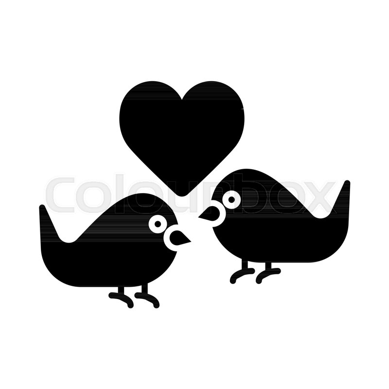 Love Birds With Heart Icon Vector Flat Sign Solid Pictogram