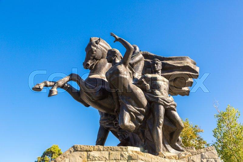ANTALYA, TURKEY - JULY 26, 2017: The Ataturk Monument in Antalya, Turkey in a beautiful summer day, stock photo