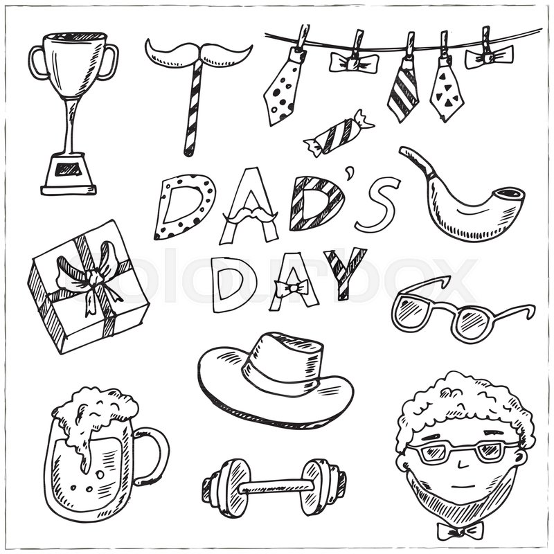 Father Day Hand Drawn Doodle Set Vector Illustration Isolated