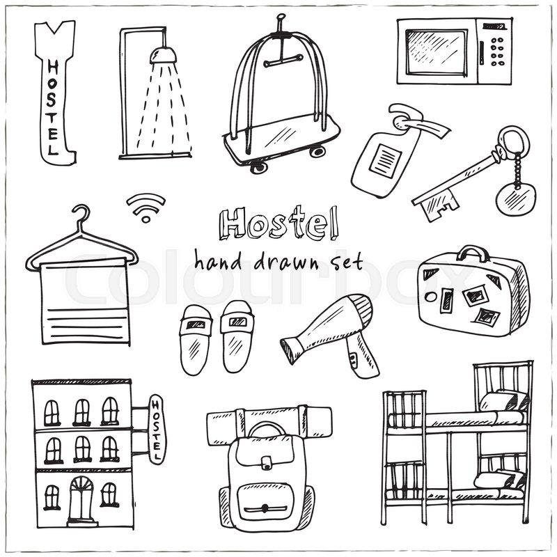 Hostel Hand drawn doodle set. Vector ...   Stock Vector   Colourbox 012a5b652e