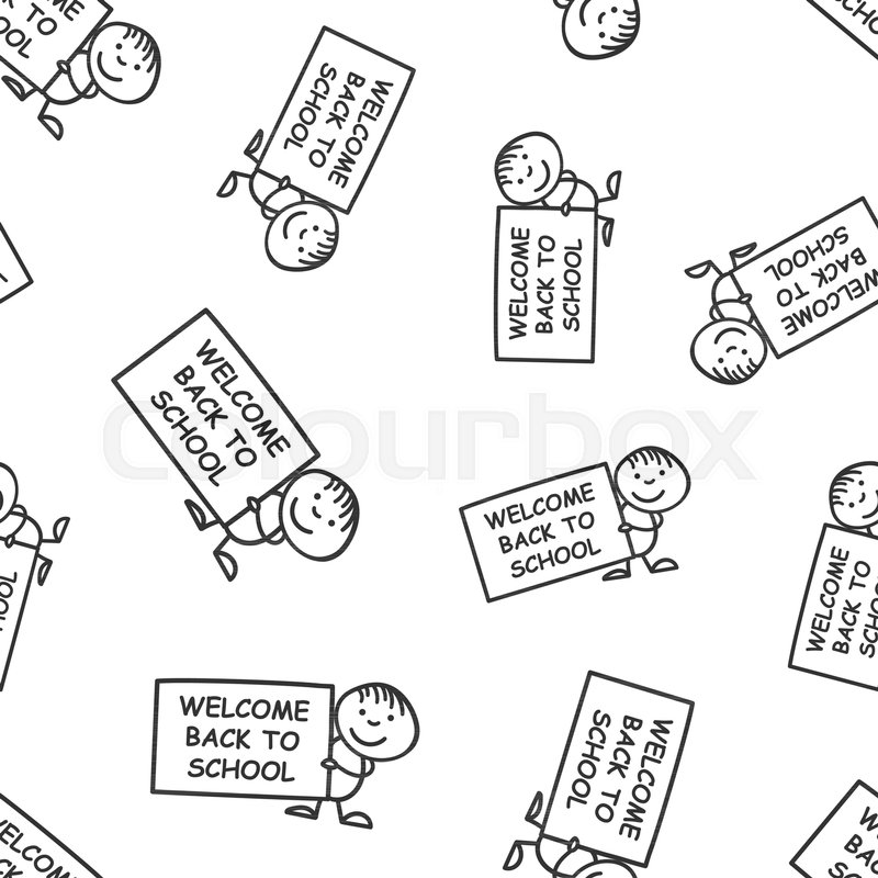 Back To School Placard In Hands Seamless Pattern Background