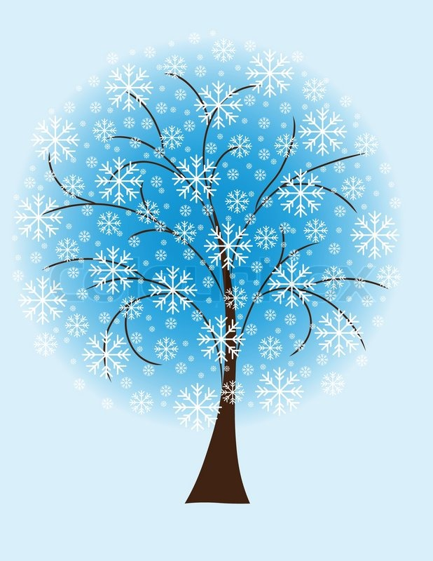 winter tree from snowflakes by the vector colourbox winter tree from snowflakes by the stock vector colourbox