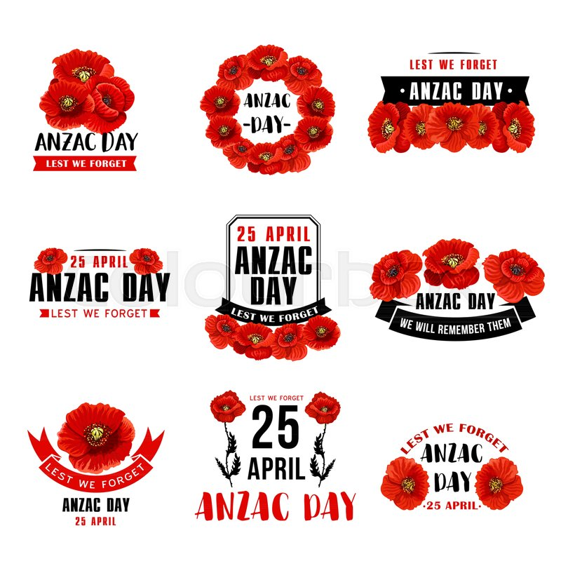 Anzac Day 25 April Australian Remembrance Day Icons Of Red Poppy