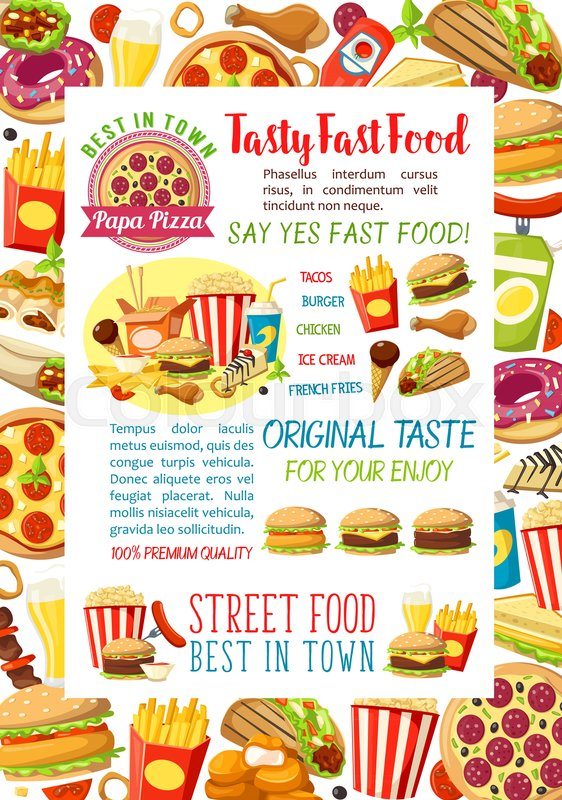 Fast Food Burgers Pizza And Sandwiches Poster Design For Fastfood - Delivery menu template