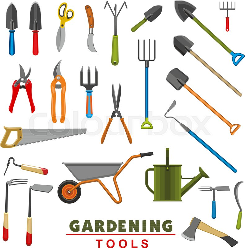 . Gardening tools icons of farming or       Stock vector   Colourbox