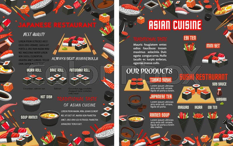 Sushi Bar Or Japanese Asian Cuisine Food Bar Menu Template Vector