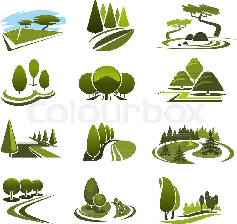 green landscape design icons template for build and maintain service