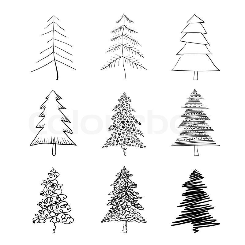 weihnachtsbaum silhouette illustrationen vektor gesetzt. Black Bedroom Furniture Sets. Home Design Ideas