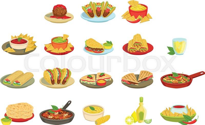 Cuisine Illustration mexican food signature dishes illustration set. traditional cuisine