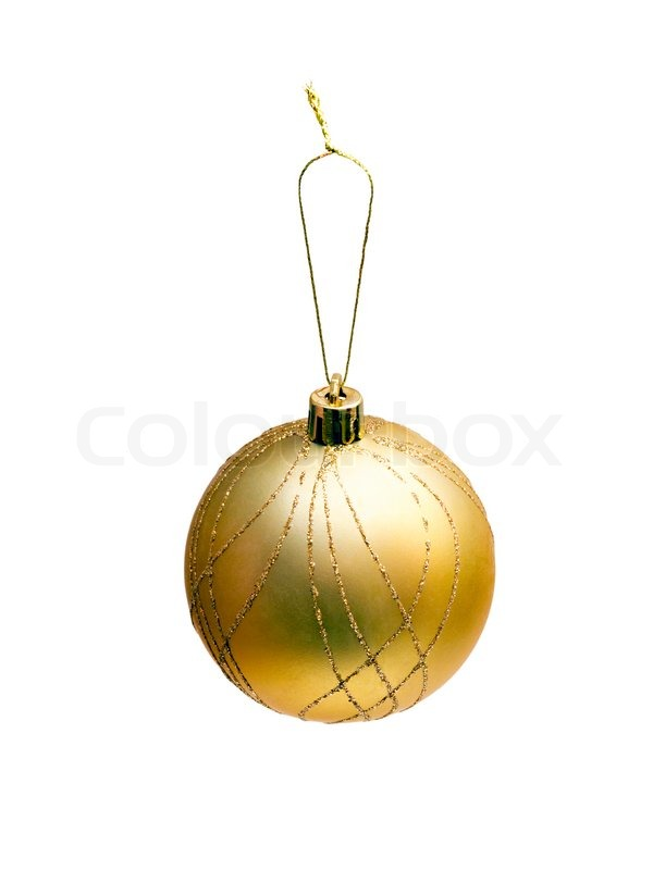 Christmas Tree With Toys : Christmas tree toy yellow ball isolated on white