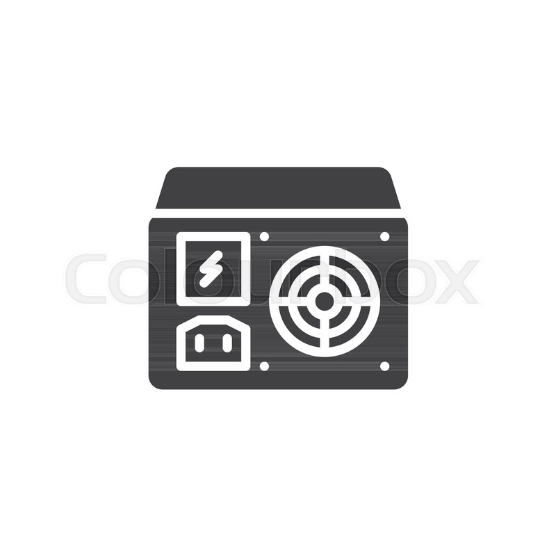 Power supply unit icon vector, filled flat sign, solid pictogram ...